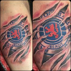 Ripped Skin Awesome 3d Football Famous Team Logo Tattoo