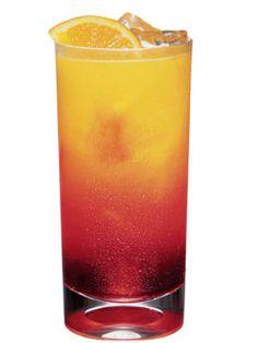 Crazy Rave...1 oz. Pucker Raspberry Rave Vodka  ¾ oz. Cruzan Mango Rum  3 oz. pineapple juice  2 oz. cranberry juice  Garnish: lemon wedge
