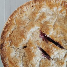 blueberry lemon verbena pie with flaky rye crust