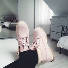 Timberlands...and they're white/cream!!!! In love!!