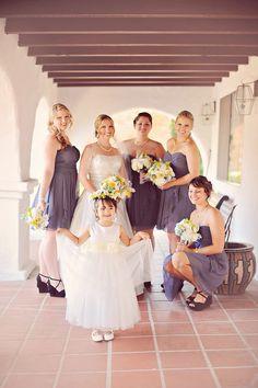 gray bridesmaids & adorable flower girl | ArianaB Photography