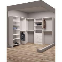TidySquares White Wood 93 x Corner Walk-in Closet System (White)(Laminate) Corner Closet Organizer, Small Closet Organization, Wardrobe Storage, Closet Storage, Front Closet, Closet Rod, Walking Closet, Closet Layout, Small Closets