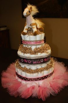 Diaper cake for cowgirl baby shower