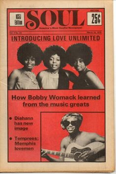 """11 March edition of SOUL magazine, """"America's Most Soulful Newspaper,"""" United States, 1974, maker unknown."""