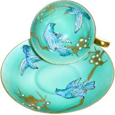 Antique Small Tea Cup Hand Painted Aqua Blue Enameled Birds in Gold Flower Tree