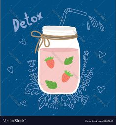 Bottle smoothie with mint strawberries Detox and Vector Image by vip2807