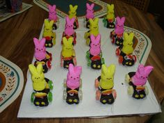 i made these peeps on a car for Easter one year.  The kids loved them.
