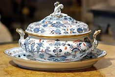 German Antique Meissen Porcelain Tureen and Platter