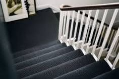Crucial Trading grey sisal carpet for stairs … Hall Carpet, Carpet Stairs, Black And White Hallway, Contemporary Hallway, Carpet Decor, Carpet Ideas, Cost Of Carpet, White Carpet, Textured Carpet