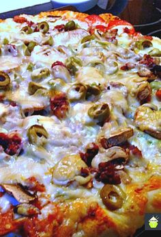 Monster Pizza with a great crust recipe. Really delicious!  #pizza #crust #bread
