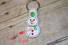 snowman, snow girl, build a snowman key fob, ring, chain - pinned by pin4etsy.com
