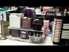 # Setting up a workspace at a scrapbooking crop