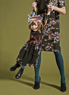 Lovely mini me dark floral Mummy and little girl dresses by Preen and Preen Mini for fall/winter 2015