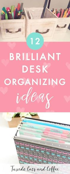 Is your office or desk space a cluttered mess? Are you finding it hard to be productive or get things done because you can't find anything and your desk is covered in papers and junk? Here are 12 genius desk organizing hacks to help get your home office t Diy Organisation, Office Organization At Work, Paper Organization, Home Office Design, Home Office Decor, Home Decor, Design Desk, Office Table, Office Chairs