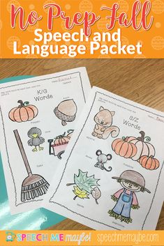 Great resource for no-prep fall themed materials for your speech therapy sessions. Use with your mixed groups to target a variety or articulation and language skills! Just print and go! Articulation Activities, Speech Therapy Activities, Language Activities, Toddler Activities, Receptive Language, Speech And Language, Compare And Contrast, Autumn Theme, Social Skills