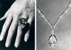 """TheTaylor-Burton Diamond, 1969 Her most famous gem was a 69.42-carat pear-shaped diamond that Burton purchased at auction for over $1 million. It was originally set in a ring. """"But even for me it was too big,"""" Taylor said. """"So we had Cartier design a necklace."""" She wore the new design to the Academy Awards in 1970."""