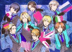 Tags: Anime, Pointing, Flag, Blue Background, Axis Powers: Hetalia, Japan, France