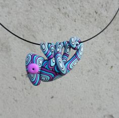 Hand made polymer clay cute PURPLEBLUE chameleon by Twiggynkaa, £12.00