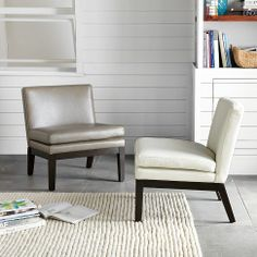 This leather slipper chair from West Elm looks really cool. But is it comfortable? Tried it at the store. Oh yes it is! Preferred color: pewter.