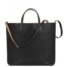 Gucci Black & Beige Leather Ramble Reversible Tote Bag (142.640 RUB) ❤ liked on Polyvore