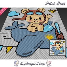 Pilot Bear crochet blanket pattern; c2c, cross stitch; graph; pdf download; no written counts or row-by-row instructions by PartyPie on Etsy https://www.etsy.com/ca/listing/581600205/pilot-bear-crochet-blanket-pattern-c2c