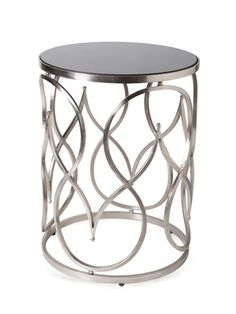"Moroccan Accent Table, by Global Views Direct Sourcing. Antique nickel powder coated iron base and granite top. 18""Diam x 23""H"