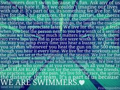 This is why I swim and why I swim for a team! :)
