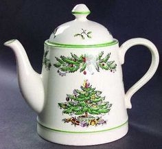 Spode Christmas Tree Garland teapot ... decorated w/ evergreen garland and original Christmas tree design that dates from 1938, tall straight-sided shape, porcelain, UK