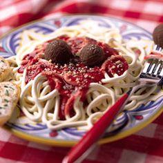 fake spaghetti and meat balls