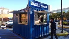 Shipping container pop up shops fit the bill as an affordable and creative way to get your product, and projects, portable and adaptable. Container Coffee Shop, Container Shop, Shipping Container Restaurant, Shipping Containers For Sale, Bagel Shop, Container Conversions, Kiosk Design, Container Architecture, Shop Interiors