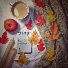 Autumn, fall, cozy, flatlay,  leaves, candles, coffee