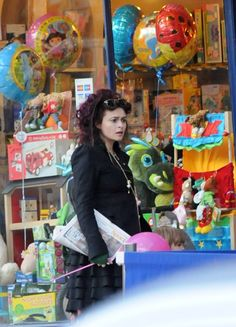 Helena Bonham Carter with Nell at the toy shop