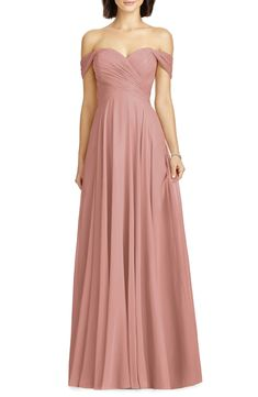 Lux Ruched Off the Shoulder Chiffon Gown Formal Dresses Online, Formal Evening Dresses, Evening Gowns, Pink Bridesmaid Dresses, Prom Dresses, Bride Dresses, Fall Dresses, Long Dresses, Blush Gown