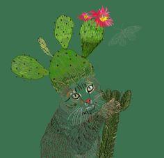cat,cactus,illustrate | •Illustr tion + Posters•