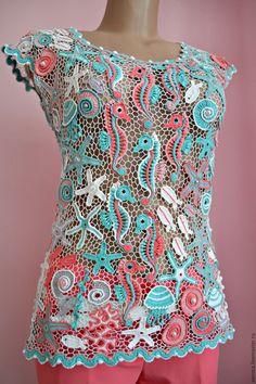 """Купить Блузка """" Морские коньки"""" - комбинированный, орнамент, море, Вязание крючком, морская тема"""