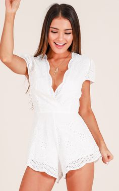 Till Day Break Playsuit In White Produced Showpo Till Day Break Playsuit in White - 10 (M) Rompers Cute Summer Outfits, Pretty Outfits, Spring Outfits, Cute Outfits, Summer Dresses, Casual Dresses, Short Dresses, Fashion Dresses, White Fashion