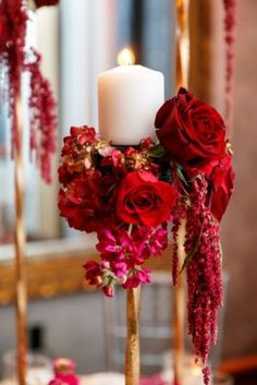 Bold Red Wedding Reception Floral Decor