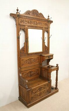 Antique Victorian Carved Oak Hall Stand/Hall Bench