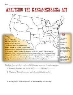 KansasNebraska Act Bleeding Kansas Webquest with Key Kansas