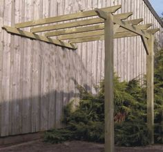 Simple 2.4m x 3.3m LEAN TO Garden Pergola with post anchors | eBay