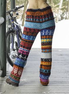 Blue Vintage Color-Block Cotton-Blend plus size Pants Crochet Pants, Knit Pants, Knit Crochet, Fair Isle Knitting, Knitting Socks, Altered T Shirts, Bohemian Pants, Plus Size Pants, Pants Pattern