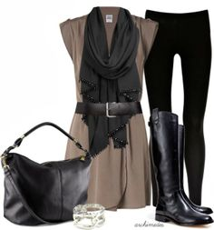 Chic Outfits | City Chic  Vero Moda dress, Warehouse Leggings, KORS boots, H&M Bag, Anne Klein bracelet  by archimedes16