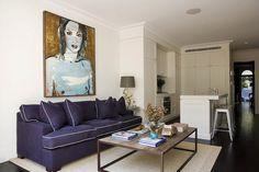 Purple Sofa, Contemporary, living room, Denai Kulcsar Interiors