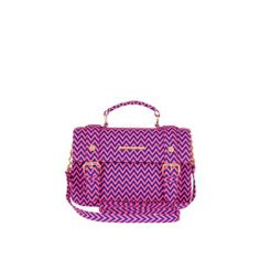 Pink zig zag print mini satchel
