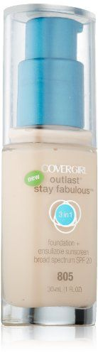 CoverGirl Outlast Stay Fabulous Foundation, Buff Beige 1 oz (Pack of Product of CoverGirl. Pack of Best Waterproof Foundation, Best Waterproof Makeup, Best Foundation Makeup, Natural Foundation, Too Faced Foundation, Foundation Primer, Drugstore Foundation, Covergirl, Top 10 Foundations