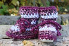 Purple and Light Grey CROCHET SHEEPSKIN Booties by 2CheekyChicks