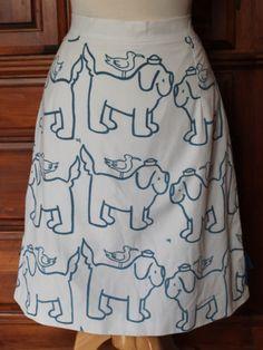 Vintage 70s The Vested Gentress Briney Bear Sailor Dog Bird Novelty Skirt #VestedGentress #PuppyPrint