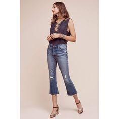 Mother Nomad High-Rise Kick Flare Jeans ($160) ❤ liked on Polyvore featuring jeans, denim light, slim denim jeans, pink high waisted jeans, pink jeans, high rise jeans and slim fit jeans