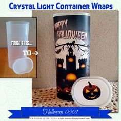 Halloween Crystal Light Container wrappers, pumpkins, spooky castle, happy…