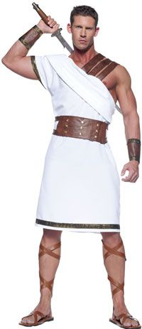 Masculine costume. Like having the shoulder exposed and tighter fitting chiton makes for a more heroic type look. Belt holding cloth in makes for warrior look. Gives a modern twist on traditional greek dress needed for setting of play.